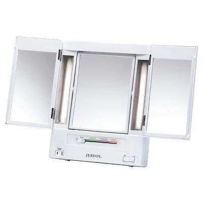 Jerdon 5X-1X Classic Fluorescent Lighted Makeup Mirror White