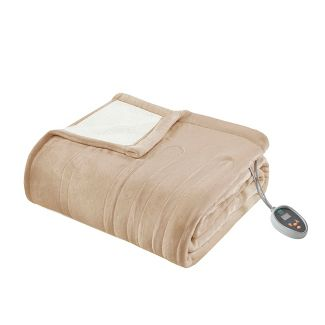 Reversible Ultra Soft Plush Electric Blanket with Bonus Automatic Timer Queen Tan
