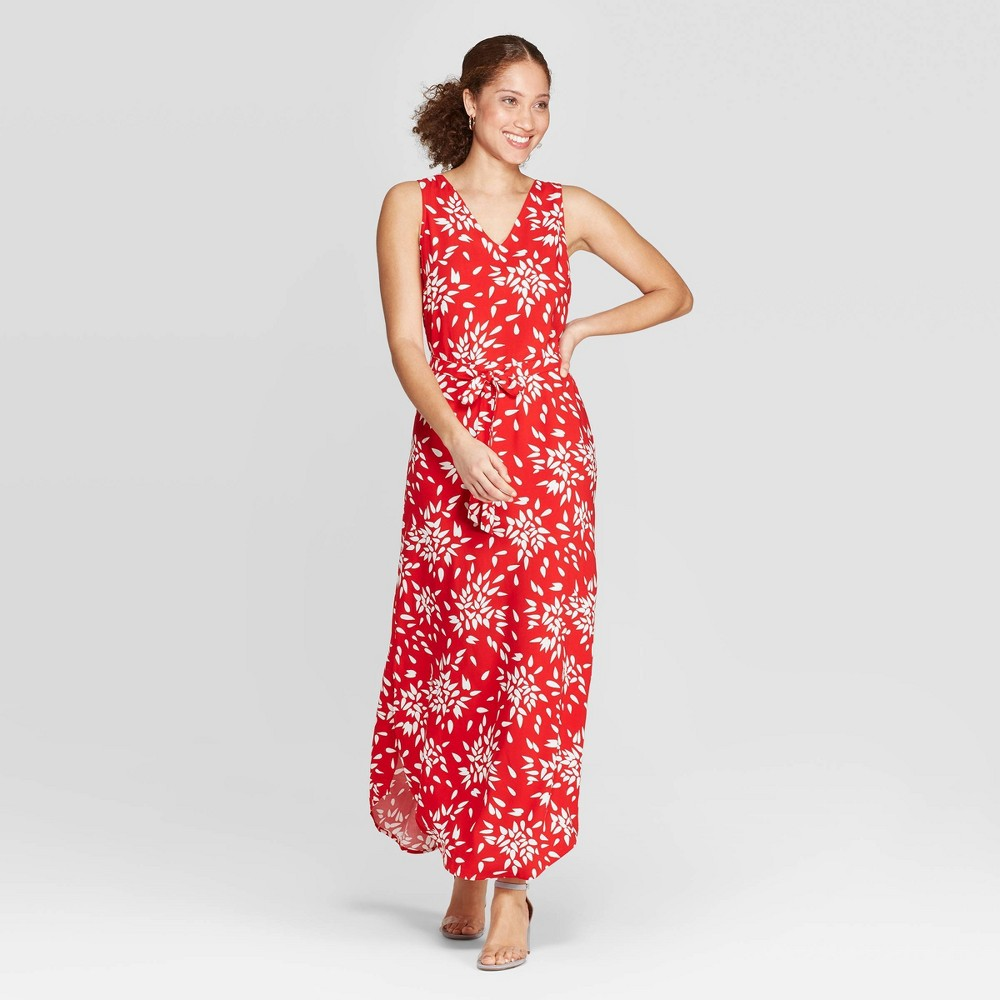 Women's Floral Print Sleeveless V-Neck Maxi Dress - A New Day Red L