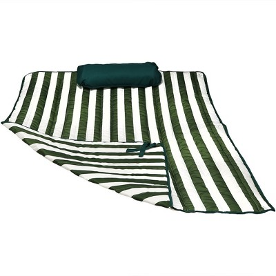 Polyester Quilted Hammock Pad and Pillow - Green and White Stripe - Sunnydaze Decor