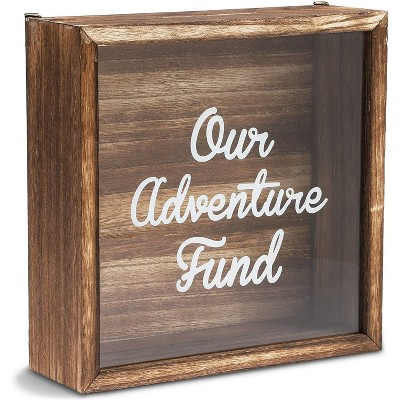 """10.6"""" x 3.3"""" Wooden Shadow Box Frame with Clear Glass and Hanging Hooks for Money Saving, Home and Party Decorations"""