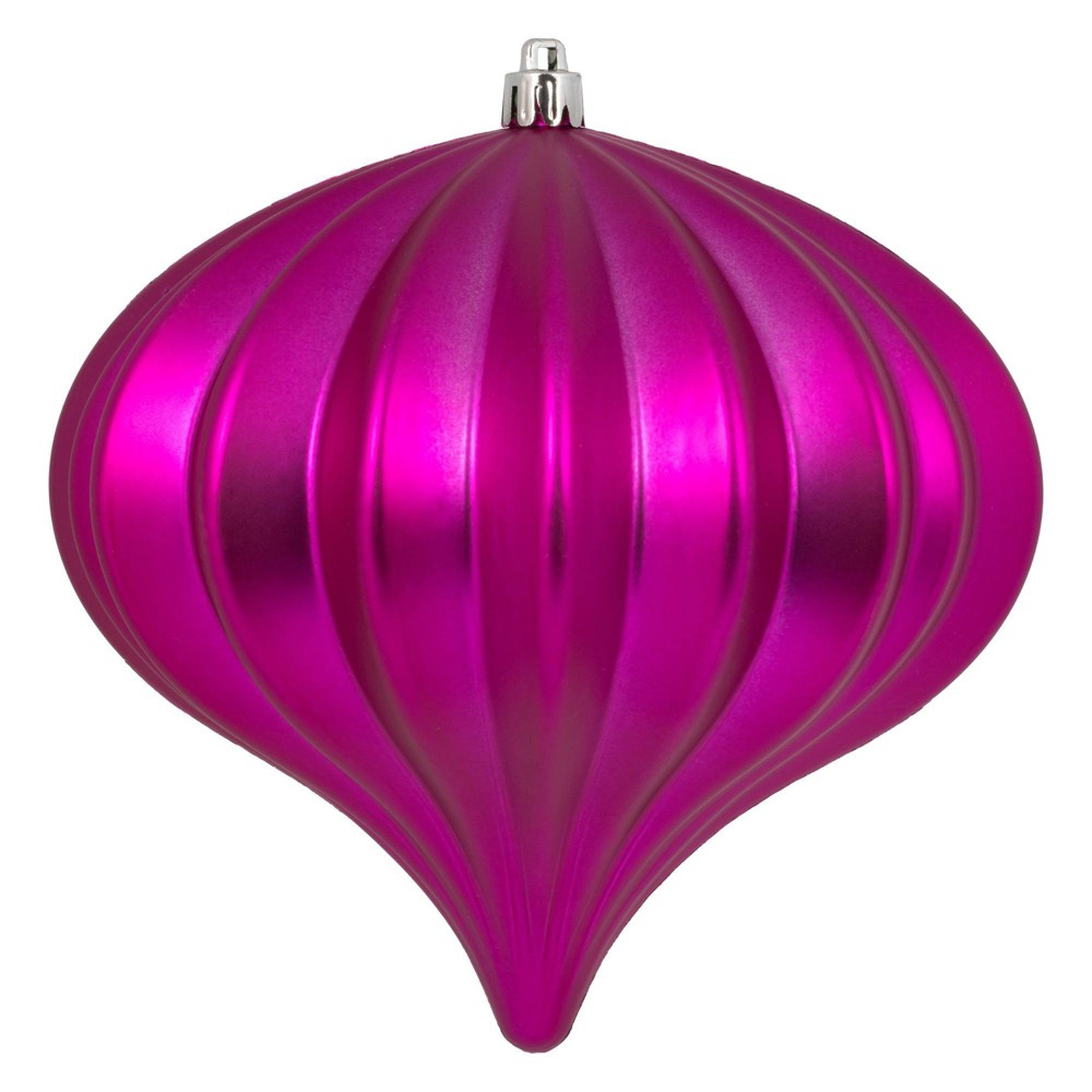 "Image of ""3ct Vickerman 5.7"""" Matte Onion Ornament, UV Coated Ornament Set Fuchsia"""