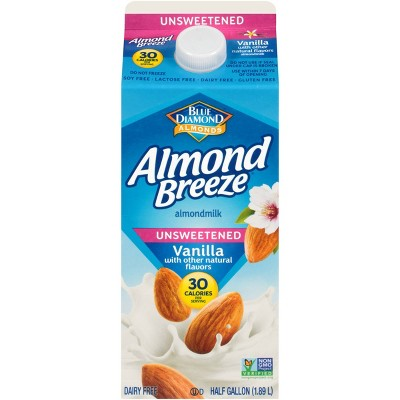 Blue Diamond Almond Breeze Unsweetened Vanilla Almond Milk - 0.5gal