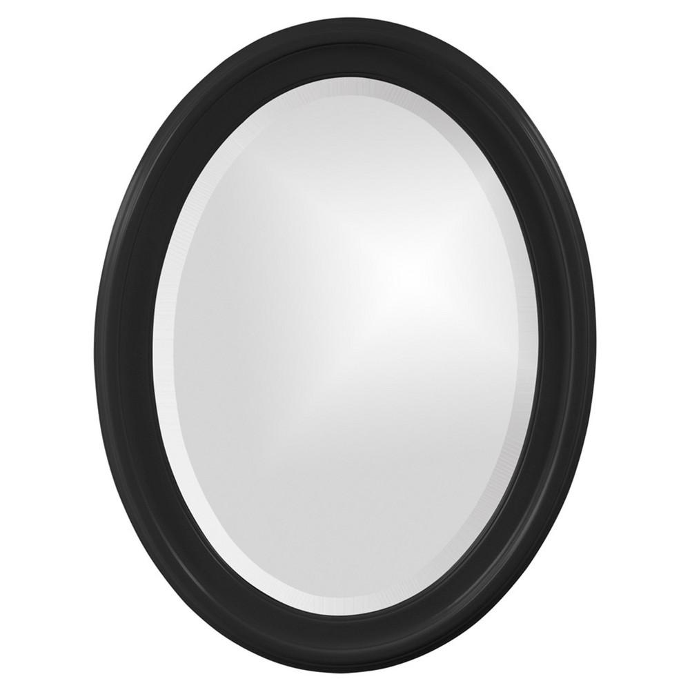 Image of Howard Elliott - George Glossy Black Oval Mirror