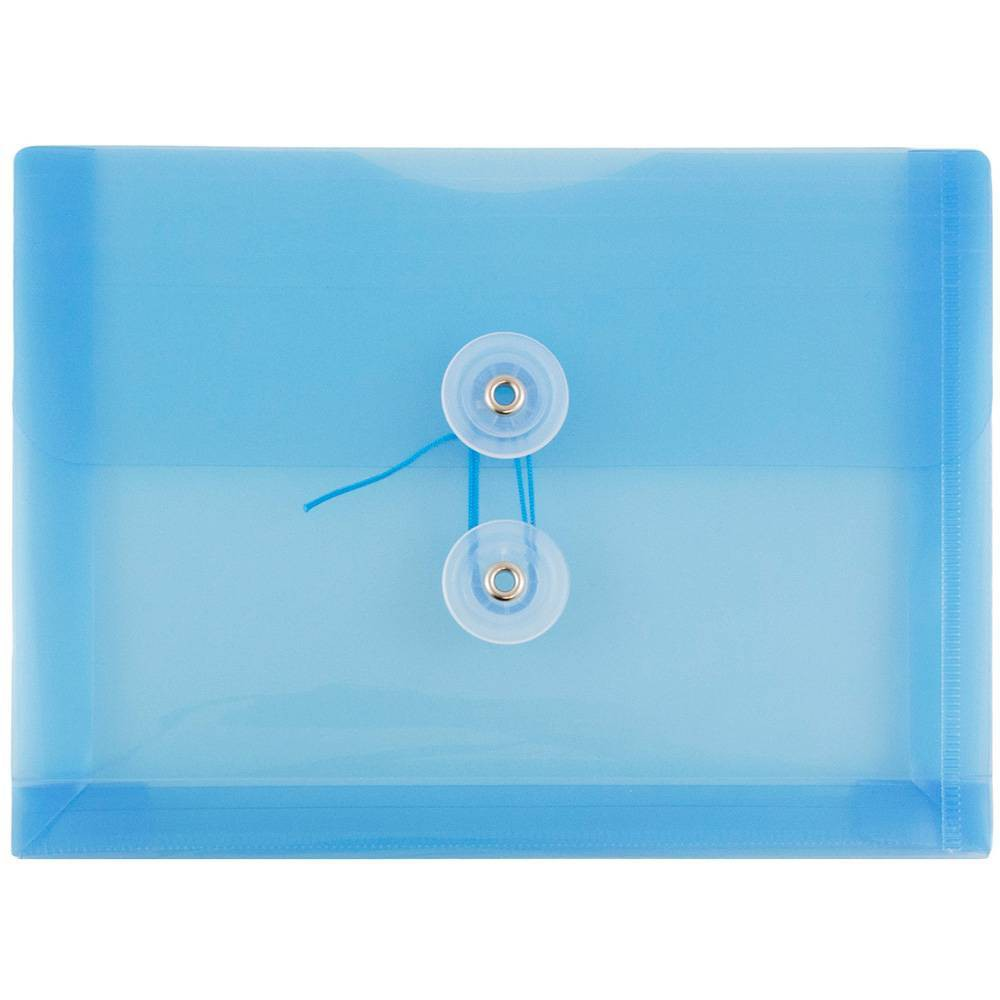 Jam Paper 5 1/4'' x 7 1/2'' 12pk Plastic Envelopes with Button and String Tie Closure, Index Booklet - Blue