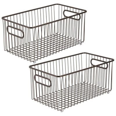 mDesign Metal Bathroom Storage Organizer Basket Bin, 2 Pack