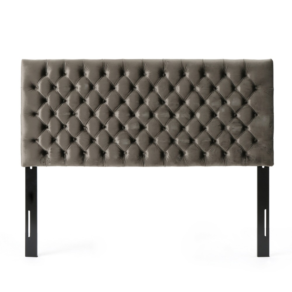 Queen/Full Jezebel Button Tufted Headboard Gray - Christopher Knight Home