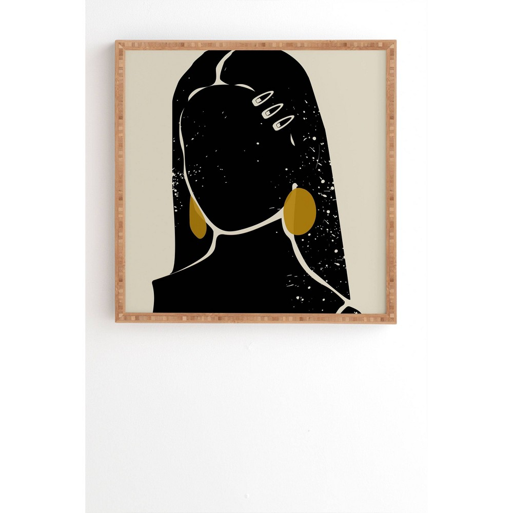 12 34 X 12 34 Domonique Brown Black Hair No 3 Framed Wall Art Bamboo Deny Designs