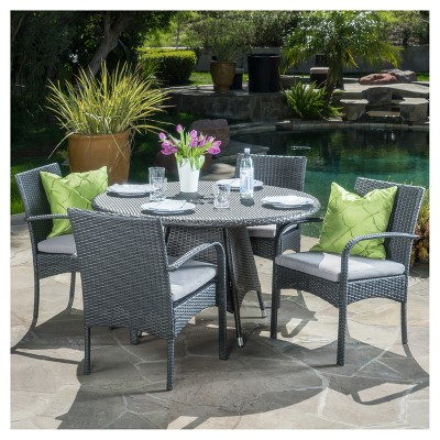 Theodore 5pc Wicker Patio Dining Set - Gray - Christopher Knight Home