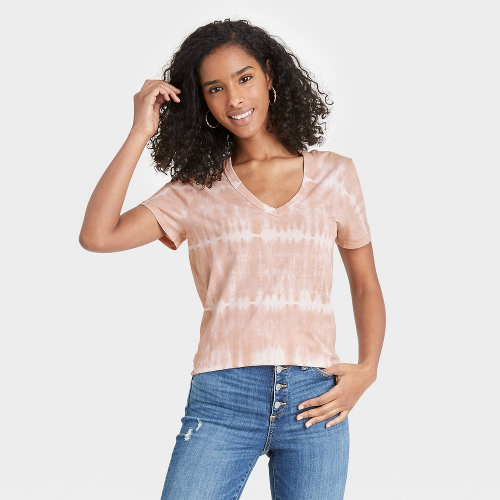 Women 39 S Tie Dye Short Sleeve V Neck T Shirt Universal Thread 8482 Brown White S