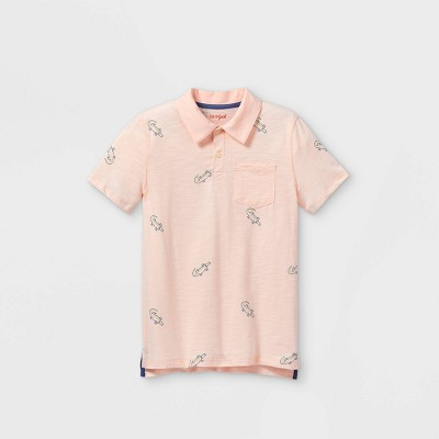 Boys' Short Sleeve Knit Polo Shirt - Cat & Jack™ Light Pink