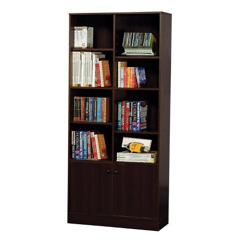 """71"""" Verden Bookcase with 2 Doors Espresso Brown - Acme - image 1 of 2"""