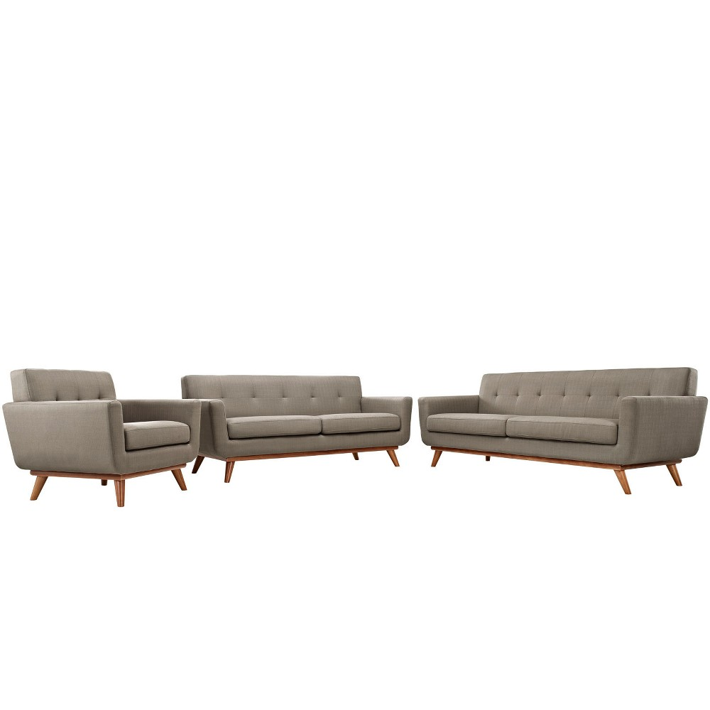 Engage Sofa Loveseat and Armchair Set of 3 Granite - Modway