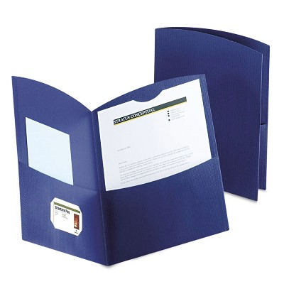 Oxford Contour Two-Pocket Recycled Paper Folder 100-Sheet Capacity Dark Blue 5062523
