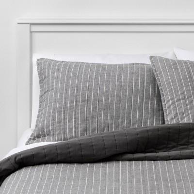 Flannel Stripe Quilt Sham Gray - Threshold™
