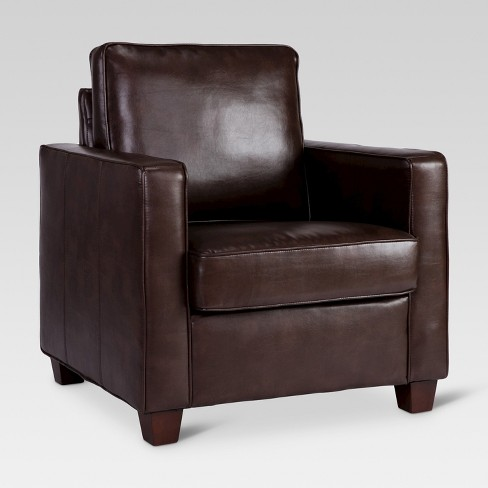Square Arm Bonded Leather Chair Espresso Threshold