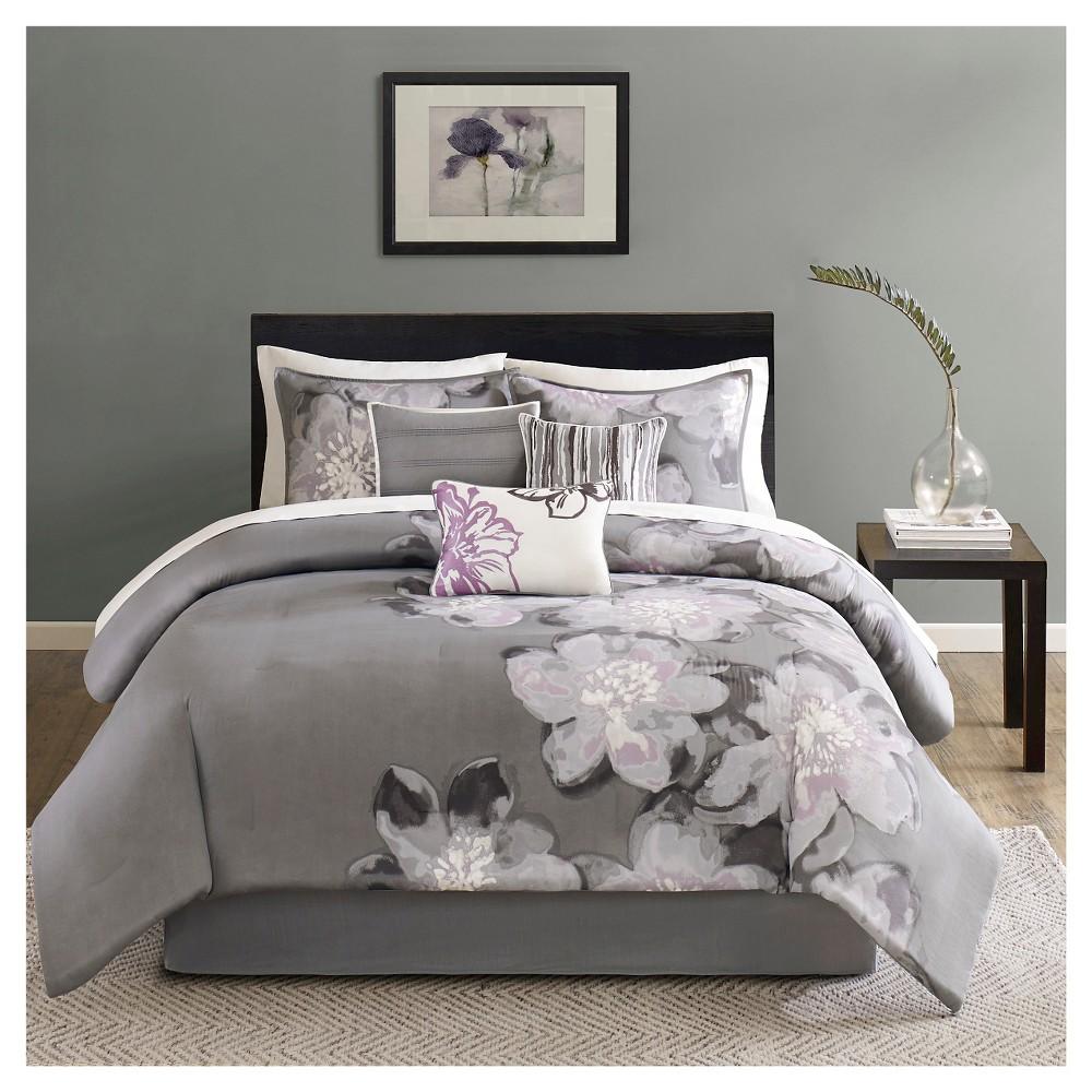 Jasmine 7 Piece Comforter Set Gray Queen