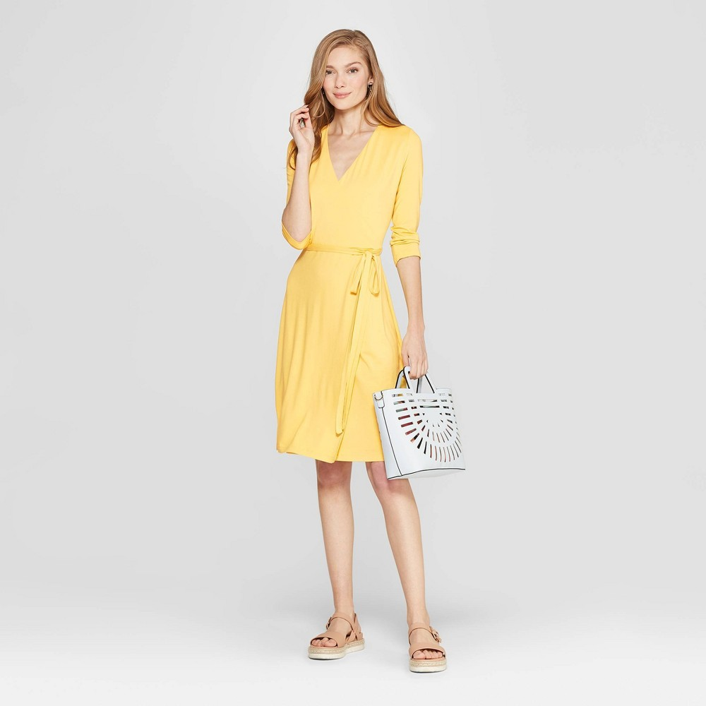 Women's Slim Fit 3/4 Sleeve V-Neck Knit Wrap Dress - A New Day Yellow L