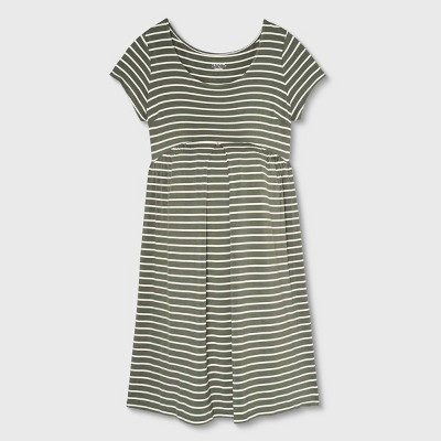 Short Sleeve Pleated Front A-Line Maternity Dress - Isabel Maternity by Ingrid & Isabel™