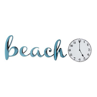 "40""x14"" Hand Painted 3D Wall Sculpture Beach Time Blue Radiance- Letter2Word"