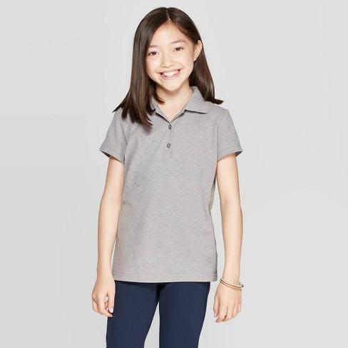 Girls' Short Sleeve Pique Uniform Polo Shirt - Cat & Jack™ - image 1 of 3