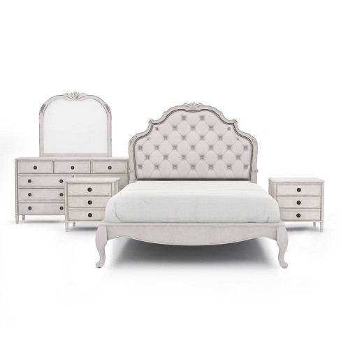 5pc Queen Kerry Brooke Bedroom Set With 2 Nightstands Antique White Silver Homes Inside Out Target
