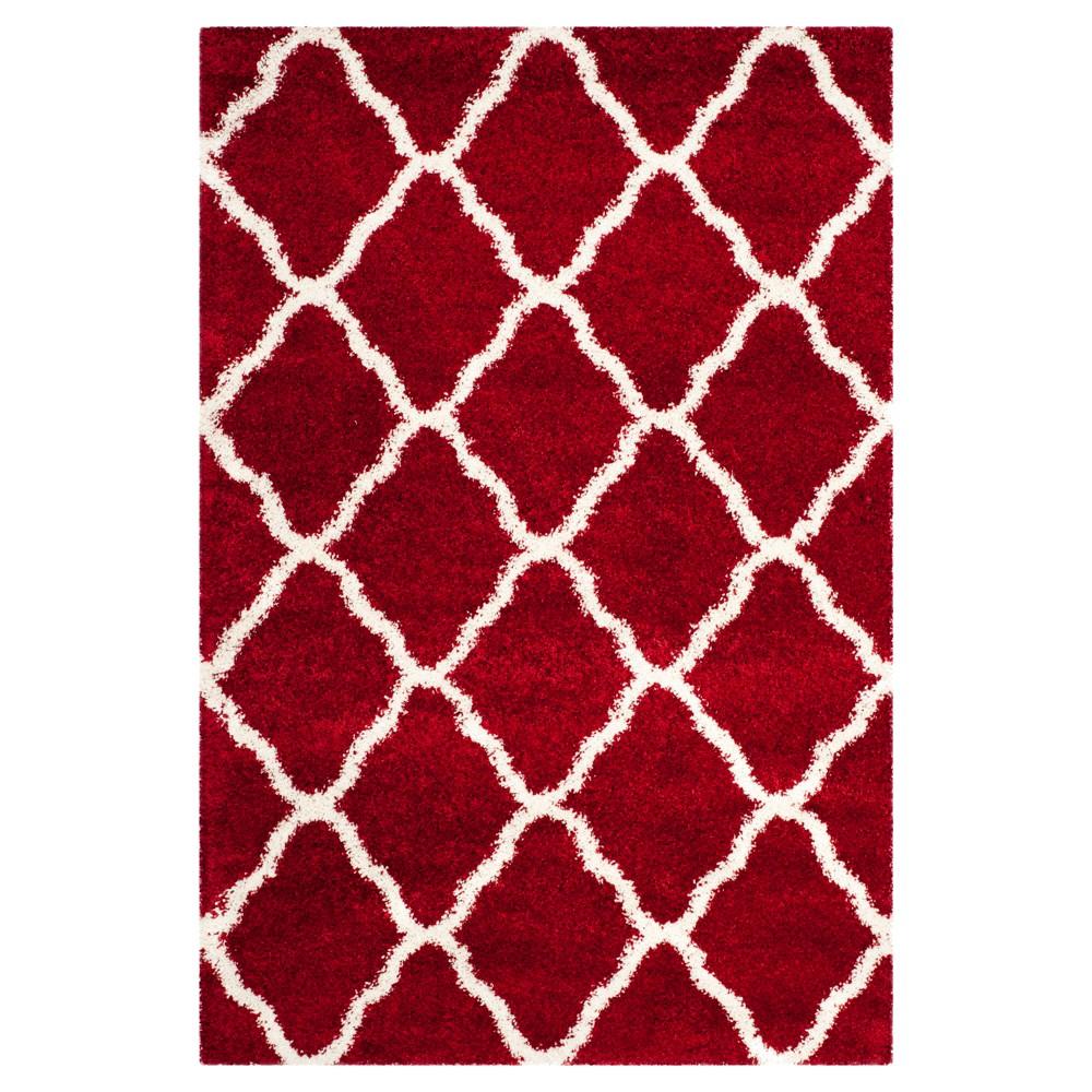 Red/Ivory Geometric Shag/Flokati Loomed Area Rug - (6'X9') - Safavieh