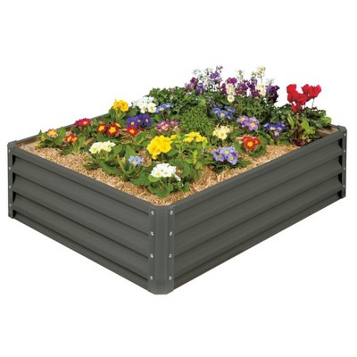 Stratco Raised Galvanized Steel Metal Outdoor Rectangular Garden Vegetable Bed Planter Box w/ 11 Cubic Feet Capacity, 47 x 35 x 12 Inches, Slate Gray