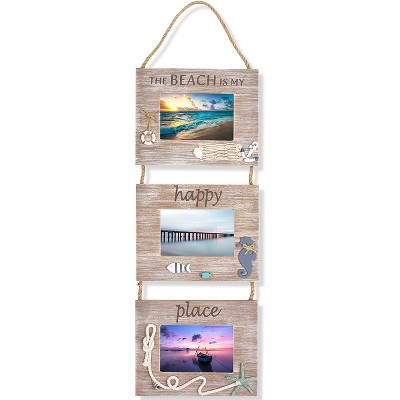 "Nautical Beach Hanging Picture Photo Frames 3 Collage 4x6 for Home Wall Decor, Brown 9.25""x29.5""x0.25"""