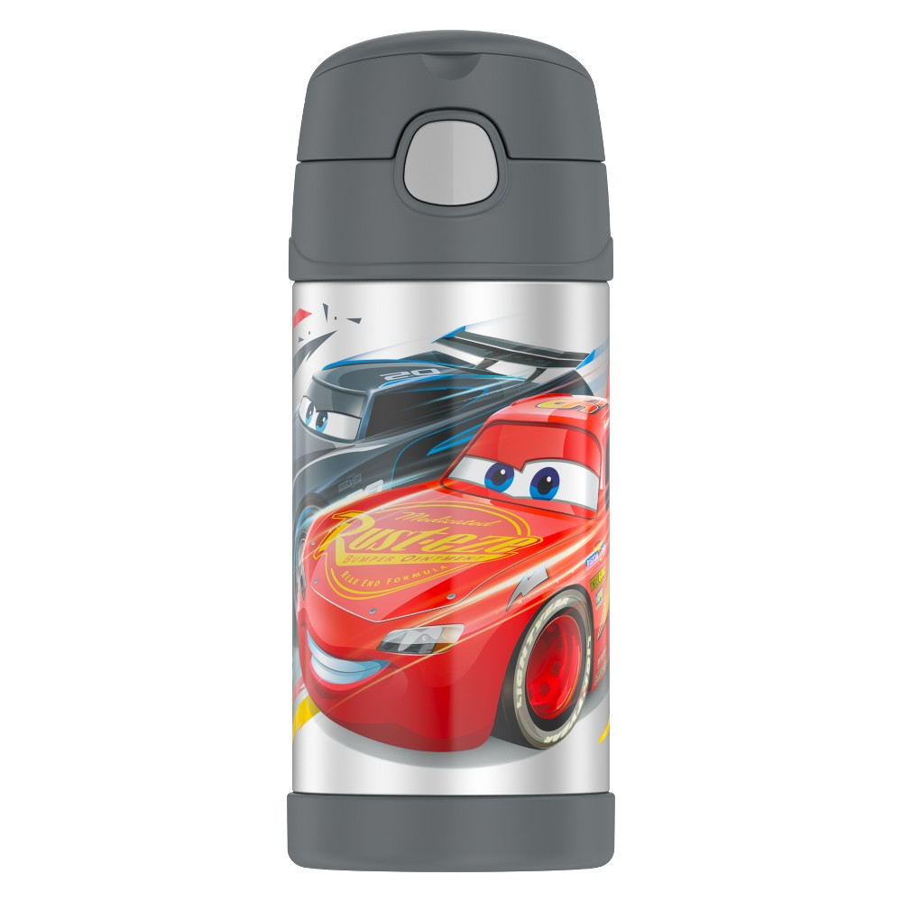 Thermos Cars 12oz FUNtainer Bottle, Black Beat the heat with this Thermos Cars 12oz FUNtainer Bottle. Featuring a gray stylish insulated thermos, this bottle is sure to keep your drink cold. The Vacuum insulated bottle is perfect for all your on-the-go hydration needs. Keeps your drink at the right temperature for hours. Thermos brand products have a push button lid with a pop-up straw. This bottle cannot be use for hot liquids. The 12 oz thermos bottle is a must have! Color: Black. Pattern: Car.