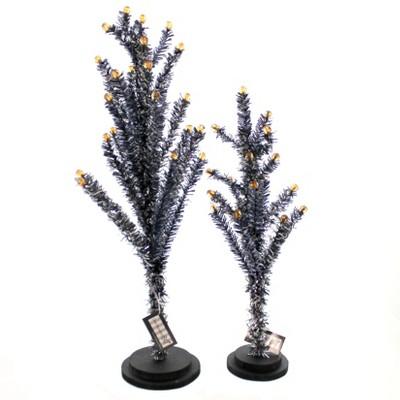 "Halloween 18.0"" Black Tinsel Tree Wood/Plastic Set Of Two  -  Decorative Figurines"