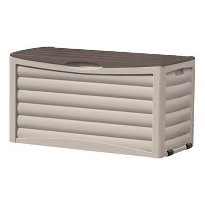 Suncast DB8300 83 Gallon Outdoor Resin Storage Chest Deck Box with Handles, Wheels, and Lid for Patio, Garden, or Pool for All Weather, Mocha/Taupe