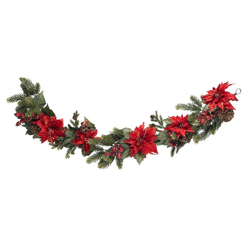 "60"" Poinsettia & Berry Garland - Nearly Natural - image 1 of 2"