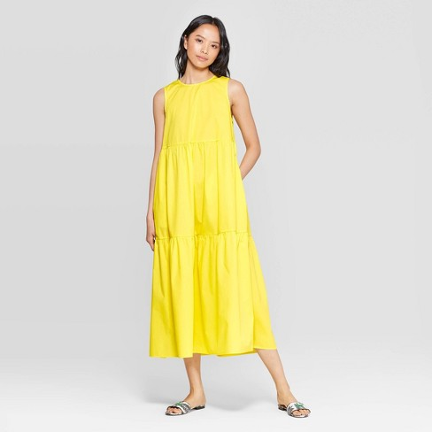 544ce739b2fc Women's Sleeveless Crewneck Tiered Maxi Dress - Who What Wear™ Yellow :  Target