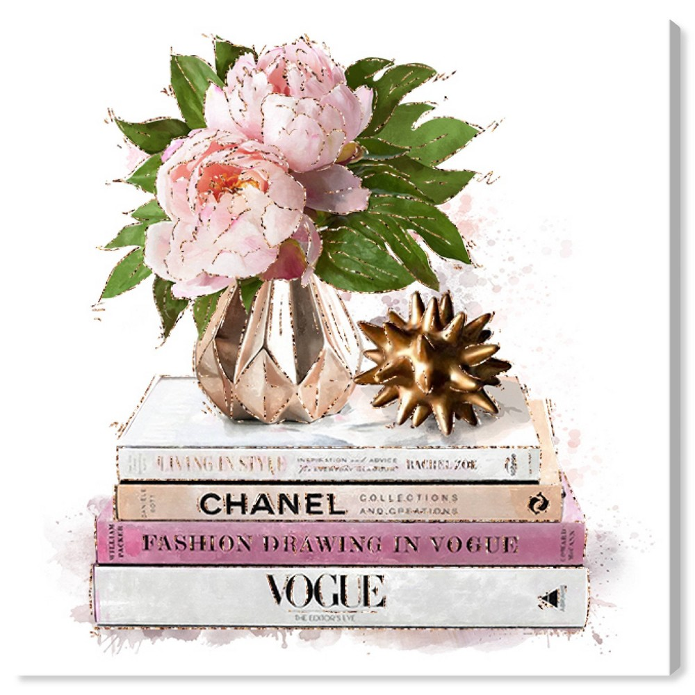 Image of 12'' x 12'' Flowers in Fashion II Unframed Wall Canvas Pink - Oliver Gal