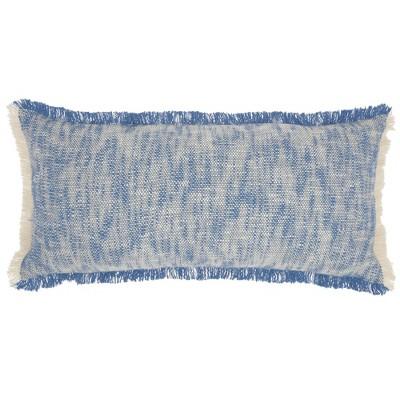 "14""x30"" Life Styles Woven Fringe Lumbar Throw Pillow Blue - Mina Victory"