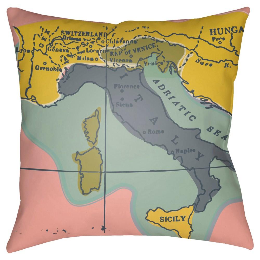 Mint (Green) Map Throw Pillow 18
