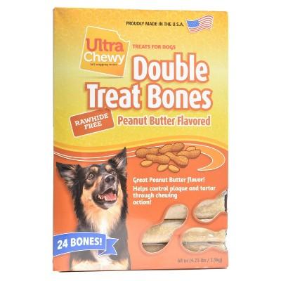 Ultra Chewy Double Bones Peanut Butter Flavor Dry Dog Treats - 4.2lb/24pk