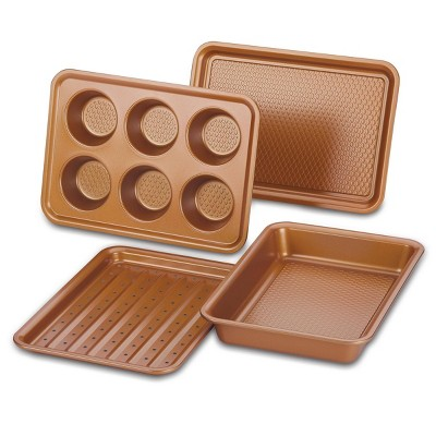 Ayesha Curry 4pc Copper Toaster Oven Bakeware Set