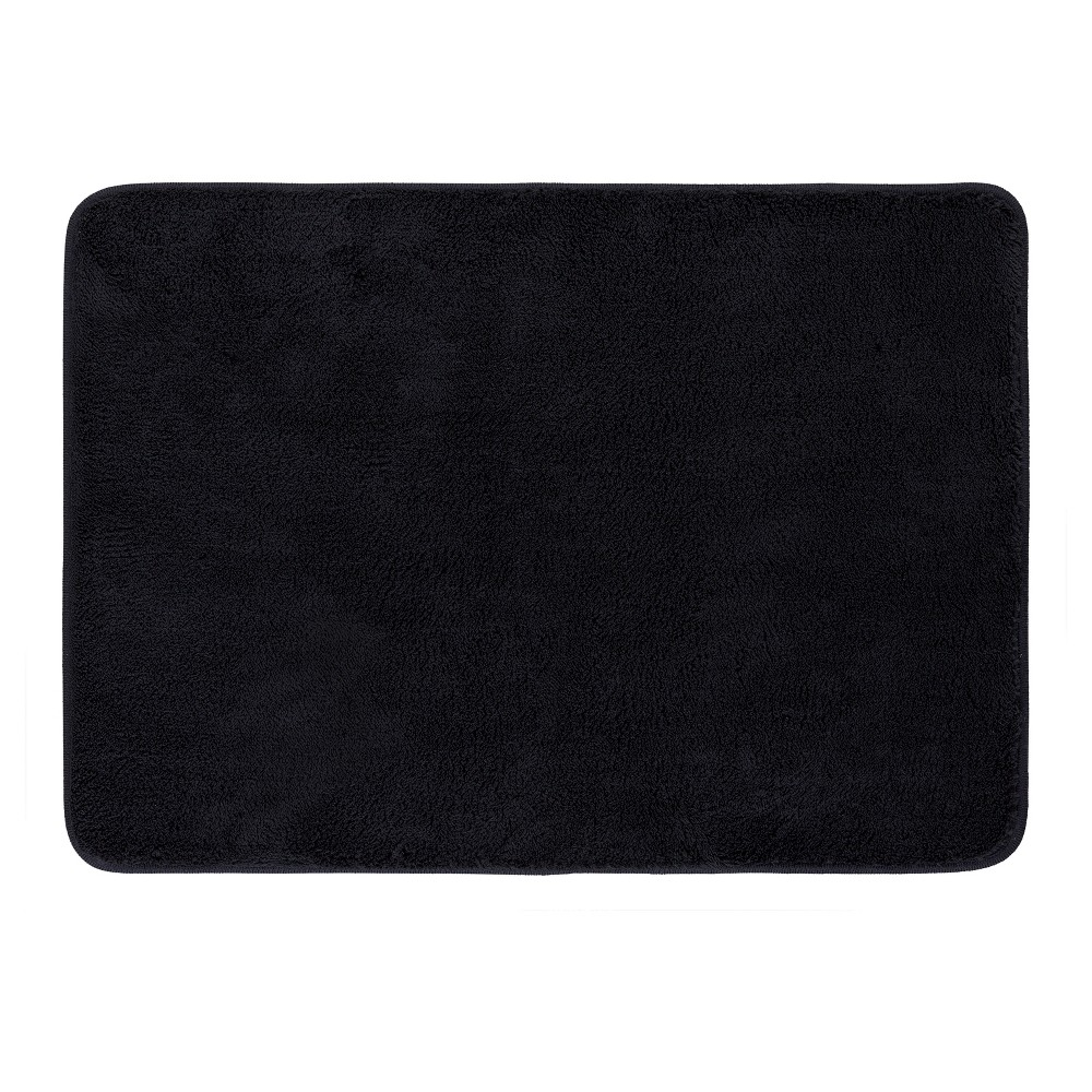 "Image of ""Velveteen Solid Memory Foam Bath Mat (17""""x24"""") Black - Mohawk Home"""