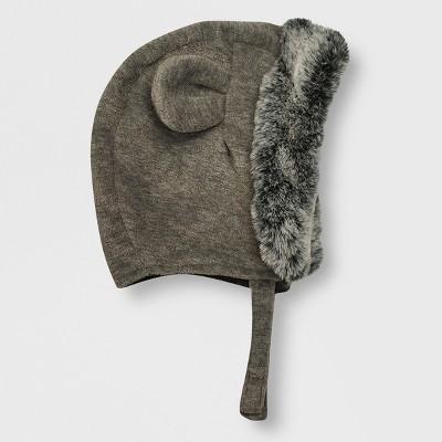 Baby Boys' Faux Fur Trim Bonnet - Cat & Jack™ Gray 0-6M