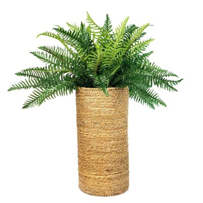 """42"""" x 34"""" Artificial Deluxe River Fern Plant in Cylinder Basket - LCG Florals"""