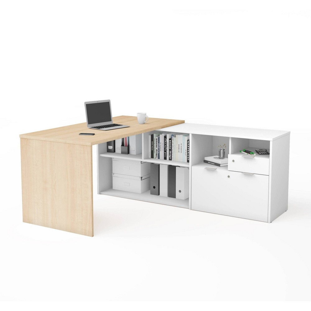 Image of I3 Plus L Desk with Two Drawers Northern Maple/White - Bestar, Northern Brown/White