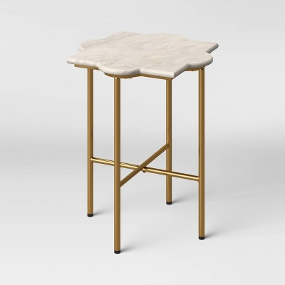 Amaranthus Curved White Marble Top End Table with Brass Base Natural - Opalhouse™