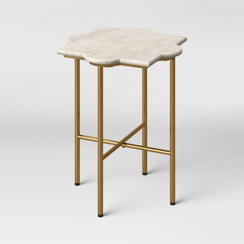 Amaranthus Curved White Marble Top End Table with Brass Base Natural - Opalhouse™ - image 1 of 3