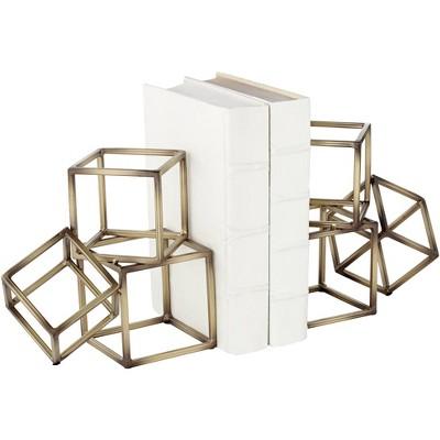 "Studio 55D Tricube Antique Brass Finish 7 1/2"" High Geometric Bookends"