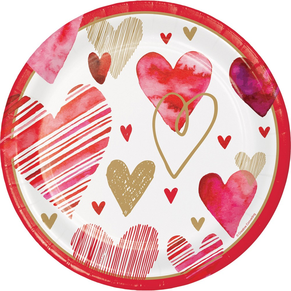 24ct Watercolor Hearts Disposable Dinnerware Red/Gold