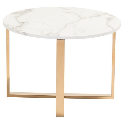 Modern 24 Round Faux Marble And Stainless Steel End Table Gold Zm Home Target