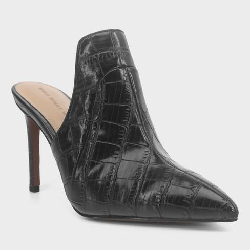 1f20aa1a5129 Women s Suri Faux Leather Croc Heeled Mule Pumps - Who What Wear™ Black