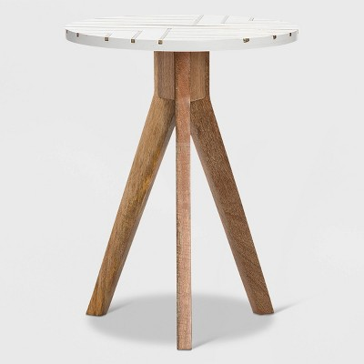 Amari Round Side Table with Brass Inlay Top White - Adore Decor